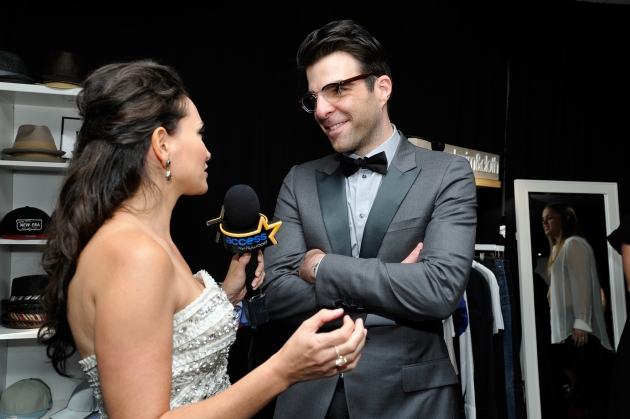 AccessHollywood.com&#39;s Laura Saltman chats with Zachary Quinto inside the Presenters Gift Lounge Backstage At The Nokia Theatre on Emmys Sunday -- WireImage