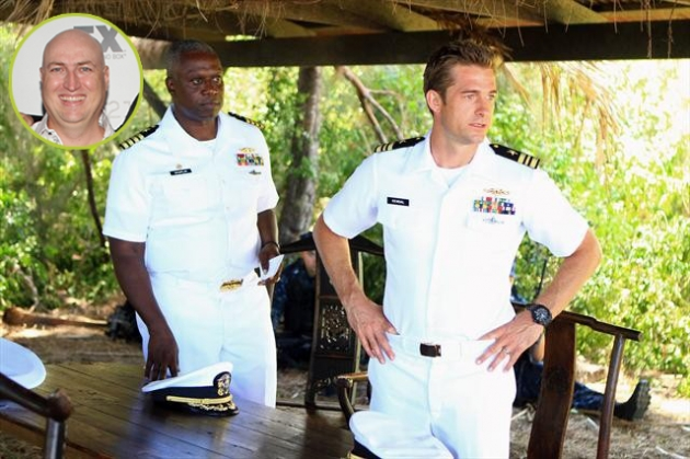'Last Resort' co-creator Shawn Ryan (inset); Andre Braugher as Capt. Marcus Chaplin and Scott Speedman as XO Sam Kendal -- Getty Images