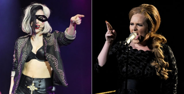 Lady Gaga, Adele -- Getty Images