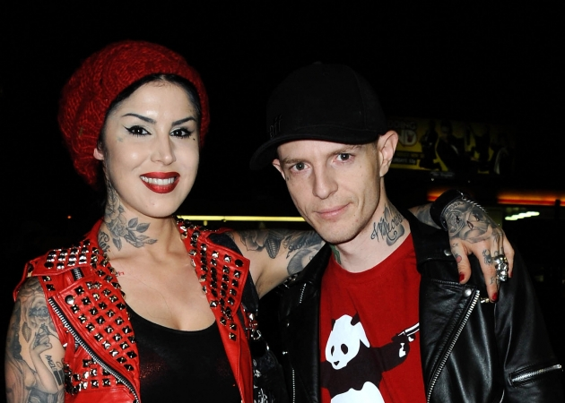 Kat Von D and DJ Deadmau5 (Joel Zimmerman) attend Opening Night Of 'Skulls' A Collective Show At Kat Von D's Wonderland Gallery in Los Angeles on November 2, 2012 -- Getty Premium