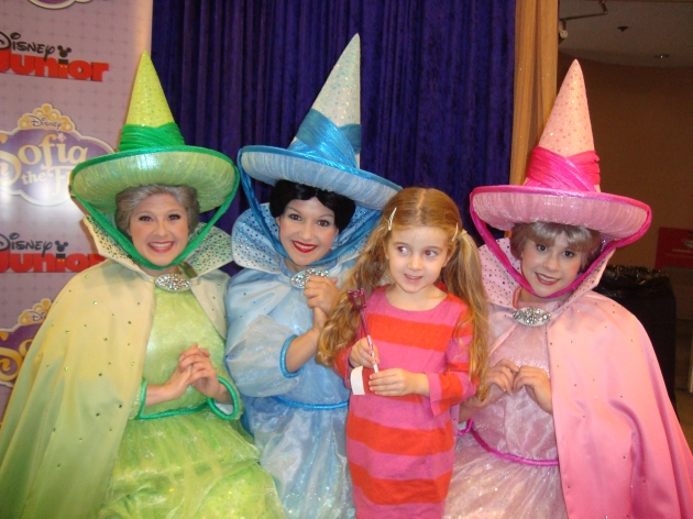 Ryan Patterson's daughter Harlow poses with the Fairy Godmothers at the 'Sofia The First: Once Upon A Princess' premiere party -- Access Hollywood