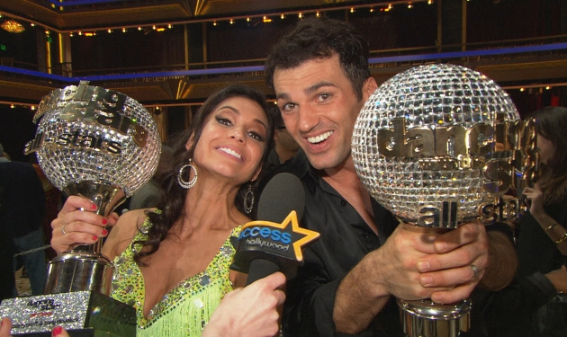 Melissa Rycroft and Tony Dovolani celebrate their 'Dancing with the Stars: All-Stars' mirrorball glory, Nov. 27, 2012 -- Access Hollywood
