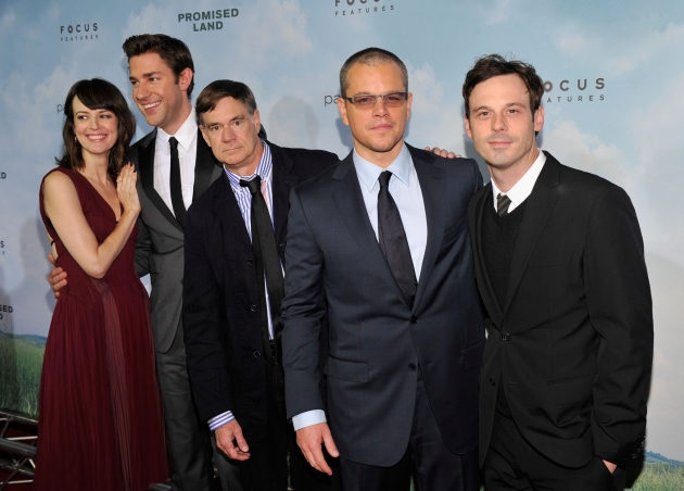 Rosemarie Dewitt, John Krasinski, Gus Van Sant, Matt Damon and Scoot McNairy attend &#39;Promised Land&#39; premiere at AMC Loews Lincoln Square 13 theater on December 4, 2012 -- Getty Images