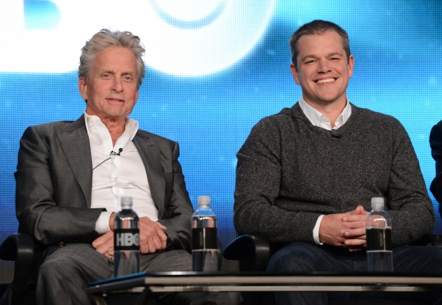 Michael Douglas and Matt Damon speak about the new HBO film &#39;Behind The Candelabra&#39; during the HBO Winter 2013 TCA Panel at The Langham Huntington Hotel and Spa, Pasadena, Calif.,  on January 4, 2013 -- Getty Images