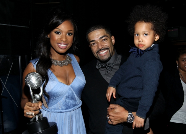 Jennifer Hudson, winner of the Outstanding Album award, David Otunga, and son David Daniel Otunga Jr. attend the 43rd NAACP Image Awards held at The Shrine Auditorium, Los Angeles, on February 17, 2012 -- Getty Images