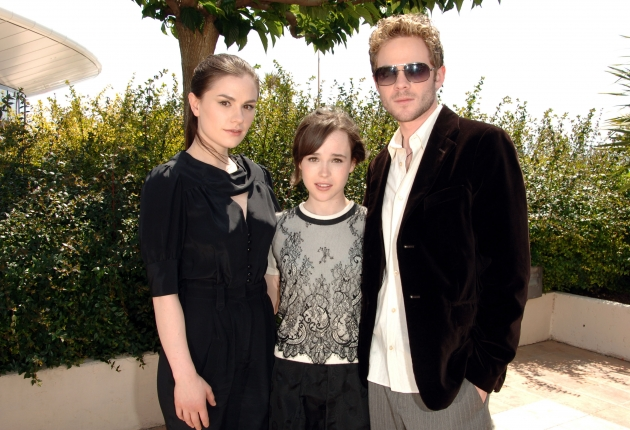 Anna Paquin, Ellen Page and Shawn Ashmore at the Palais des Festival Terrace in Cannes, France on May 22, 2006  -- Getty Premium