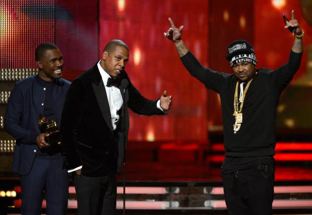 Frank Ocean, Jay-Z and The-Dream accept Best Rap/Sung Collaboration award for &#39;No Church in the Wild&#39; onstage at the 55th Annual Grammy Awards at Staples Center on February 10, 2013 in Los Angeles -- Getty Images