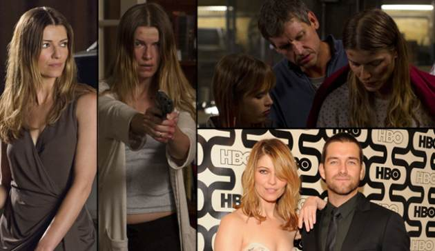 Ivana Milicevic as Carrie Hopewell (Ana) in Cinemax&#39;s &#39;Banshee&#39; (left); Top Right -- Ryann Shane as Dava Hopewell, Rus Blackwell as Gordon Hopewell and Ivana as Carrie; Bottom right -- Ivana and Antony Starr at HBO&#39;s Emmy party 2013 -- Getty ImagesCinemax
