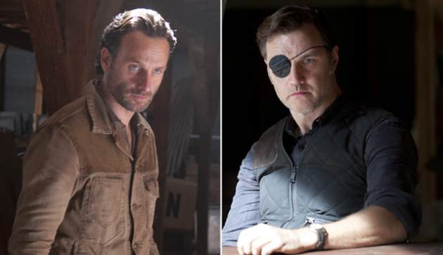 Andrew Lincoln as Rick Grimes, David Morrissey as The Governor in &#39;The Walking Dead&#39; -- Gene Page/AMC