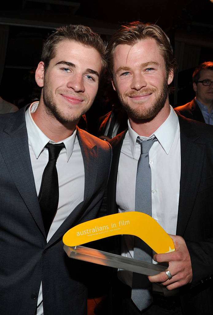 Australians In Film's 2010 Breakthrough Awards Liam Hemsworth Chris Hemsworth