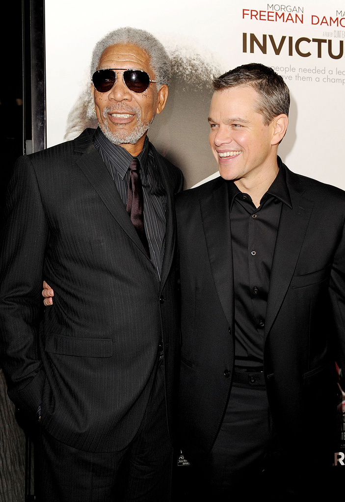 Invictus LA premiere 2009 Morgan Freeman MAtt damon