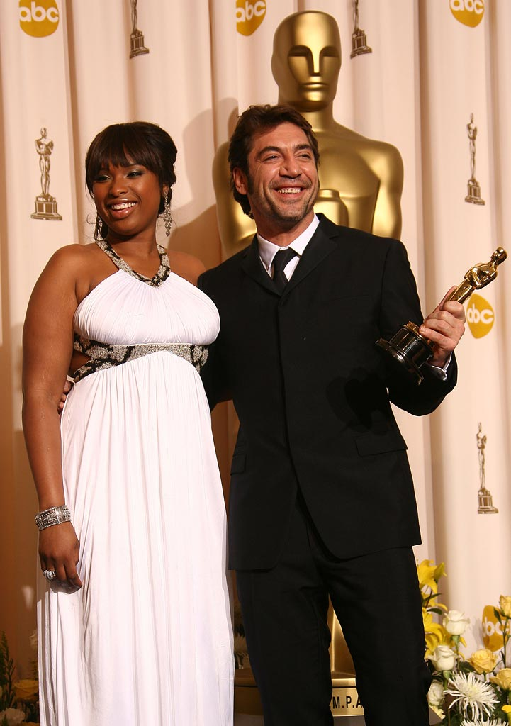 Oscar Press Room 2008 Jennifer Hudson Javier Bardem