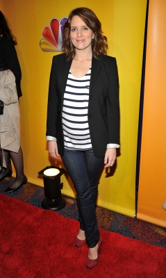 A pregnant Tina Fey attends the 2011 NBC Upfronts at the Hilton Hotel, New York City, May 16, 2011 -- Getty Images