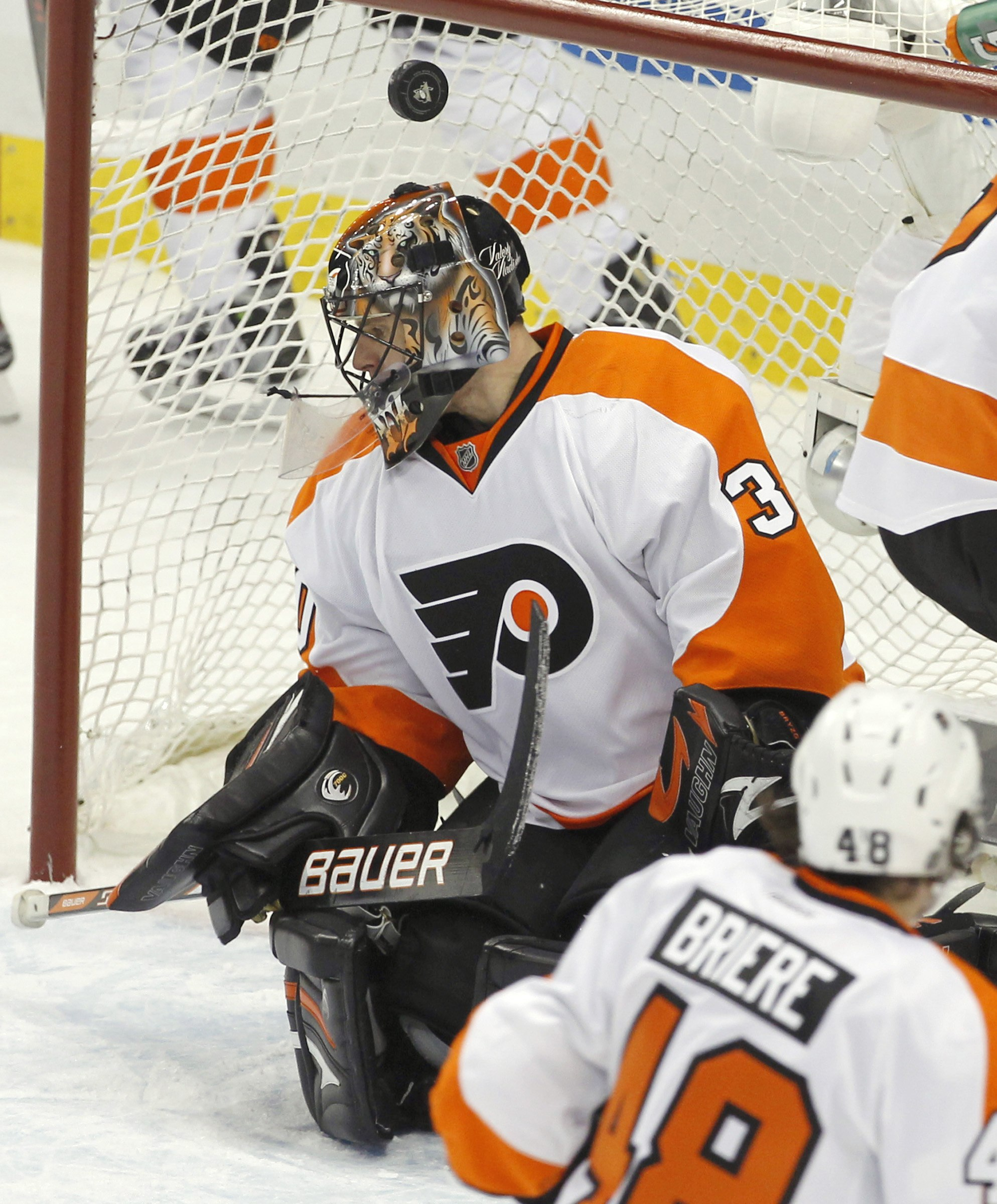 After a slow start, Ilya Bryzgalov settled down in goal. (Reuters)