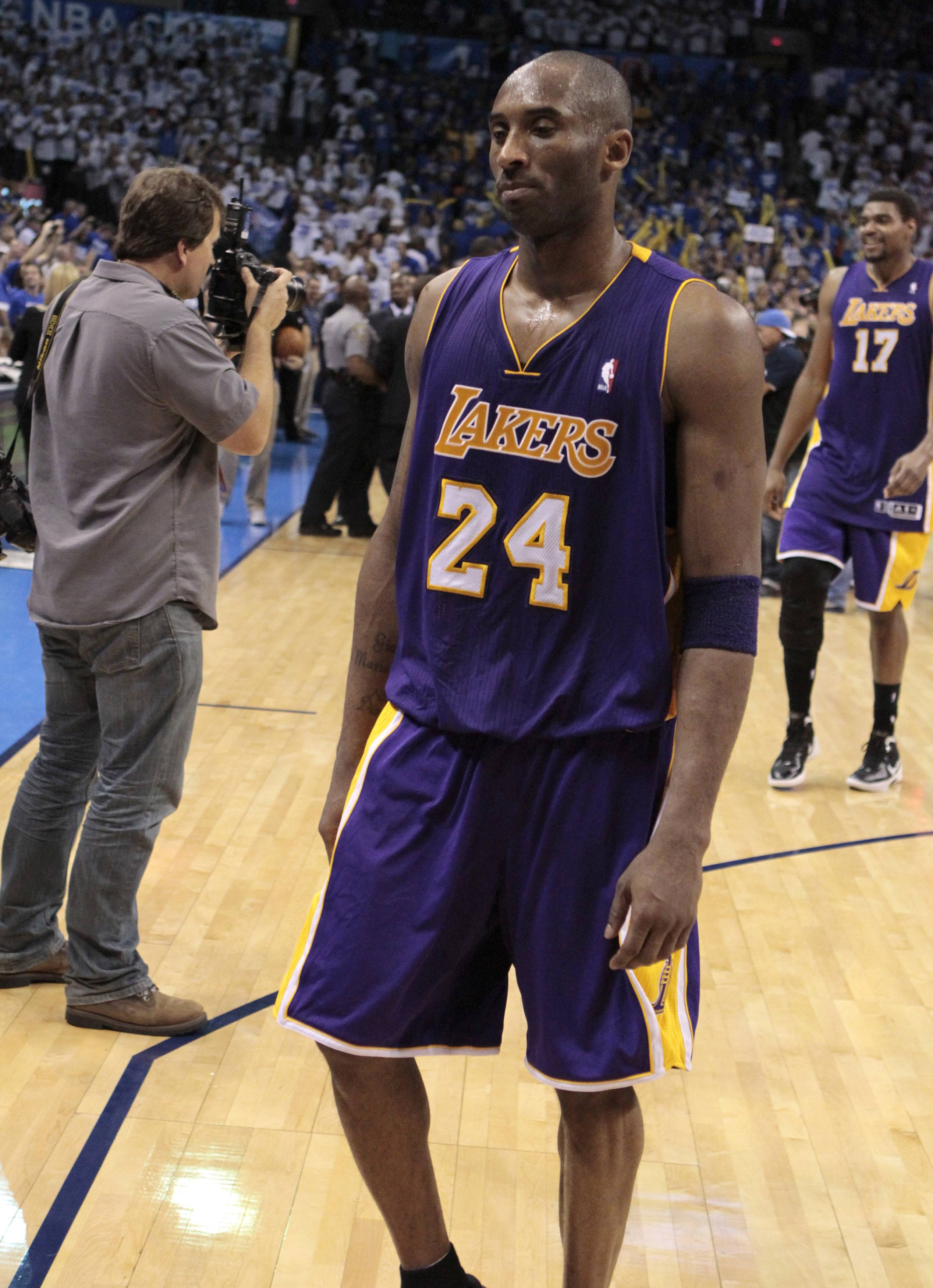Kobe Bryant is dejected after a loss to the Thunder in Game 2. (Reuters)