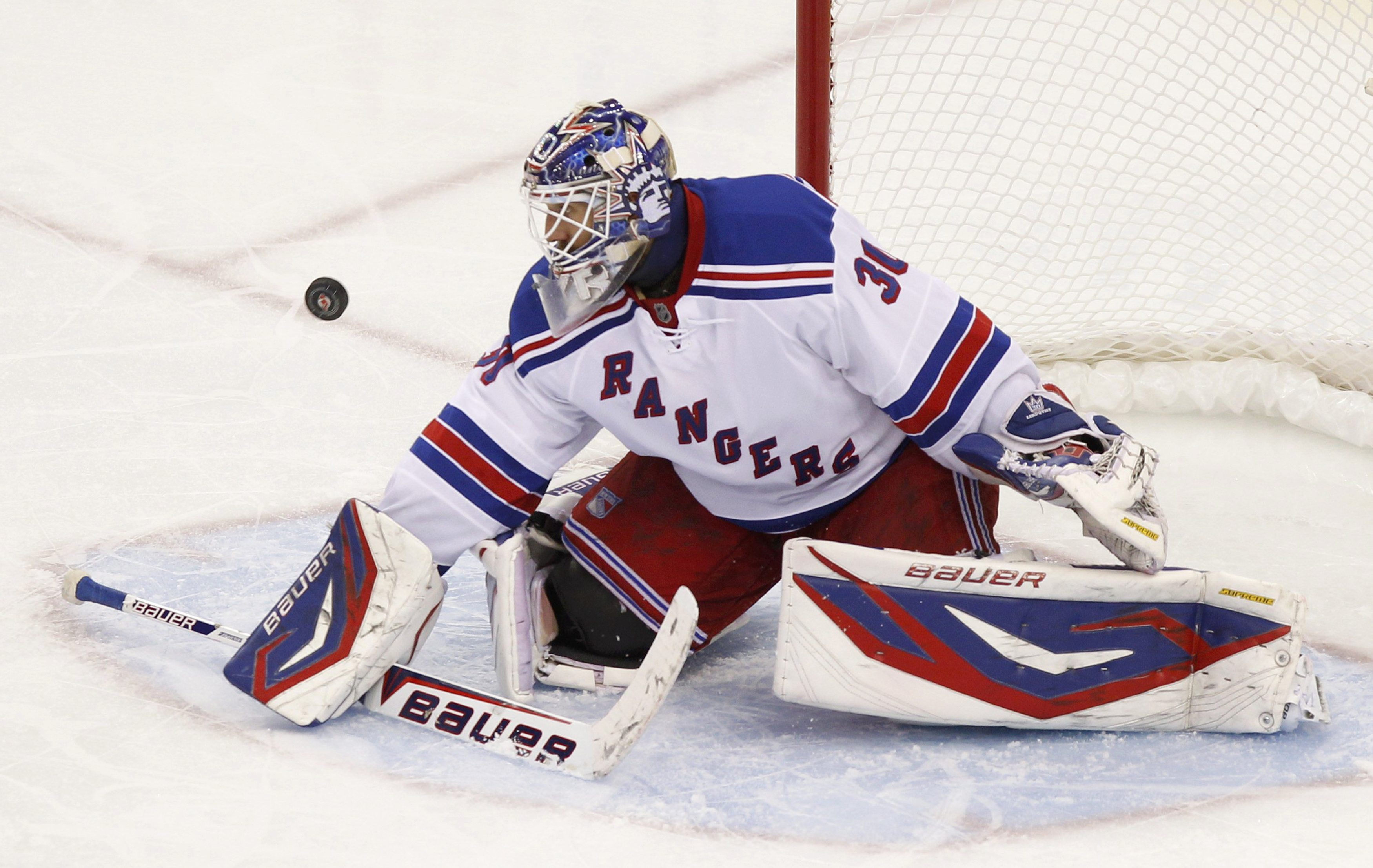 Rangers goalie Henrik Lundqvist has continued his MVP-caliber play in the playoffs. (Reuters)