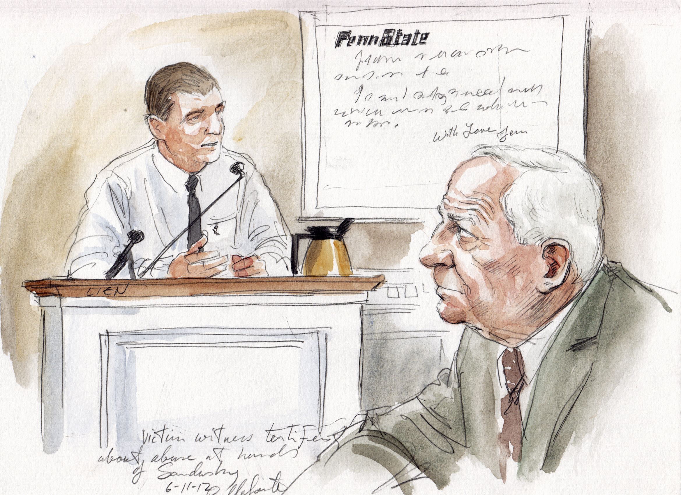 An unidentified witness (left) testifies on Monday as Jerry Sandusky looks on. (Reuters)