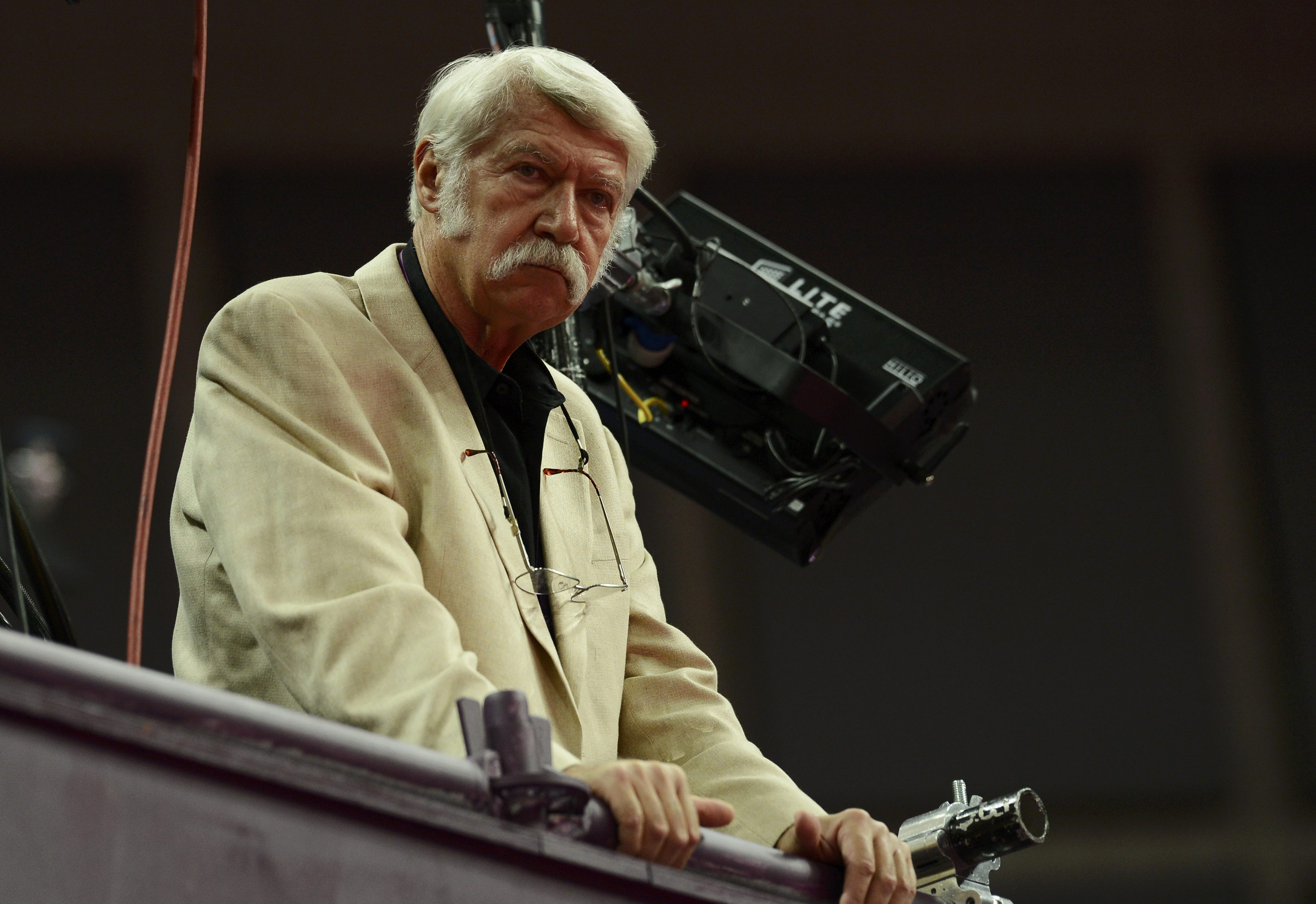 Bela Karolyi watches the women's gymnastics qualification at the North Greenwich Arena. (Reuters)