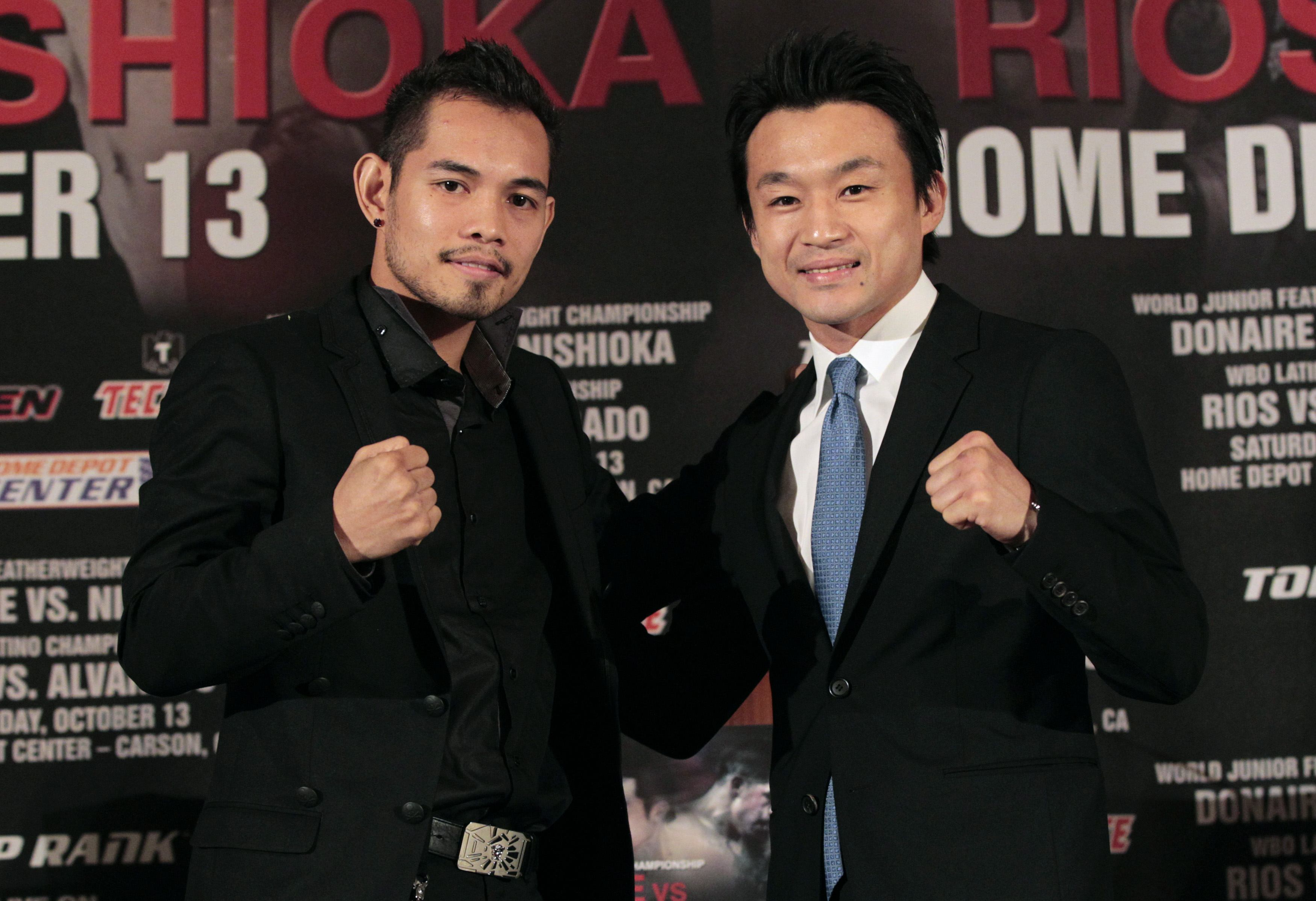 Nonito Donaire (L) takes on Toshiaki Nishioka on Saturday in Carson, Calif. (Reuters)