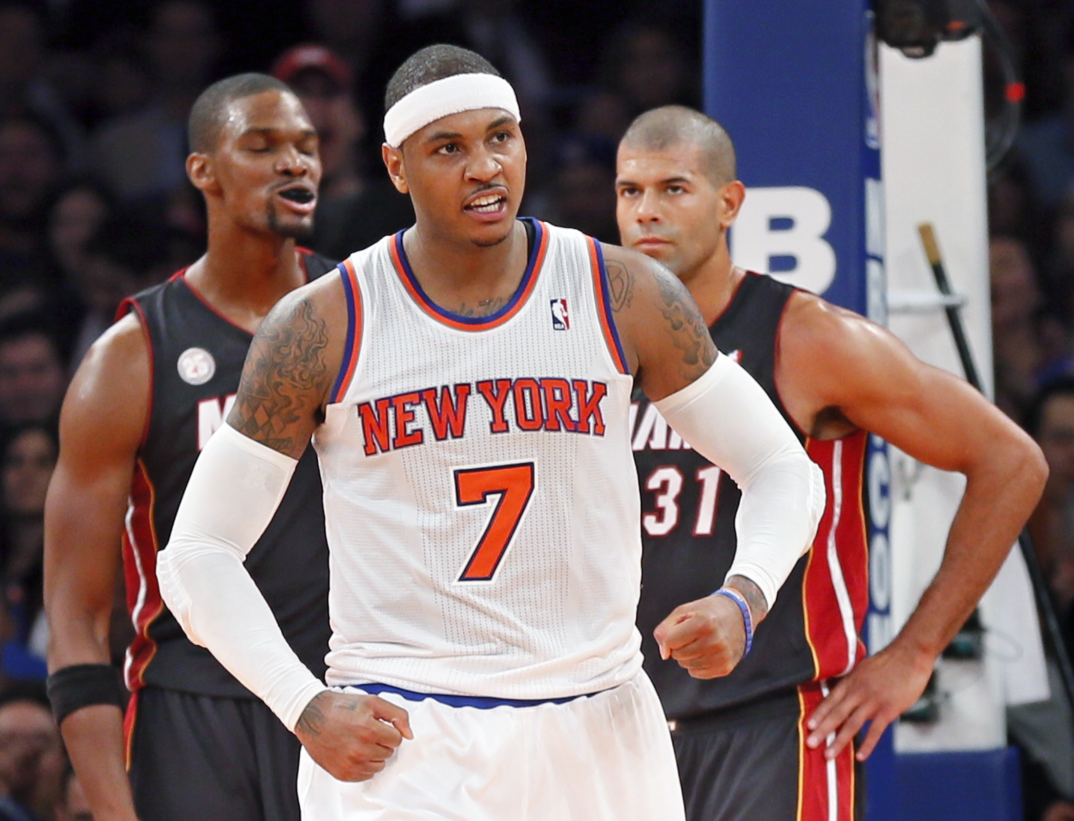 Carmelo Anthony and the Knicks have flexed their muscle in the East this season. (Reuters)