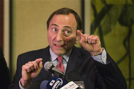Gary Bettman has suggested a 48-game season is the lowest the NHL will go. (Reuters)