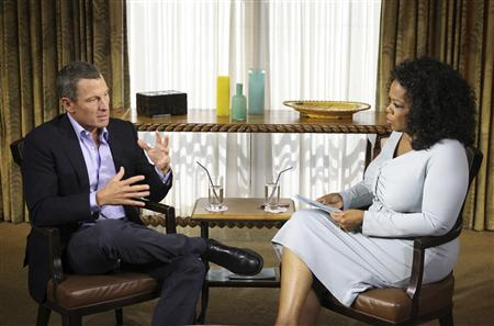 Lance Armstrong is interviewed by Oprah Winfrey in Austin, Texas. (REUTERS)