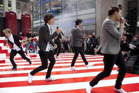 "The band ""One Direction"" performs on NBC's Today show in New York November 13, 2012. REUTERS/Andrew Burton"