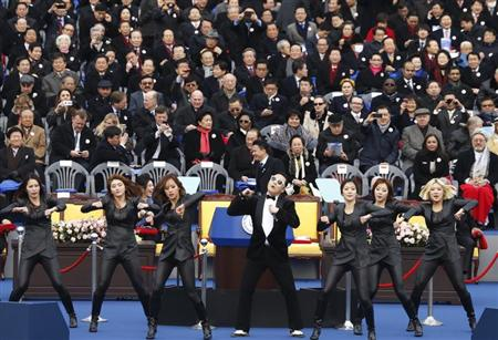 Singer Psy performs during the inauguration of South Korea's new President Park Geun-hye (not pictured) at the parliament in Seoul February 25, 2013. REUTERS/Lee Jae-Won