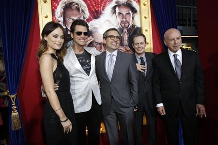 Cast members (from L-R) Olivia Wilde, Jim Carrey, Steve Carell, Steve Buscemi and Alan Arkin pose at the premiere of &quot;The Incredible Burt Wonderstone&quot; in Hollywood, California March 11, 2013. REUTERS/Mario Anzuoni