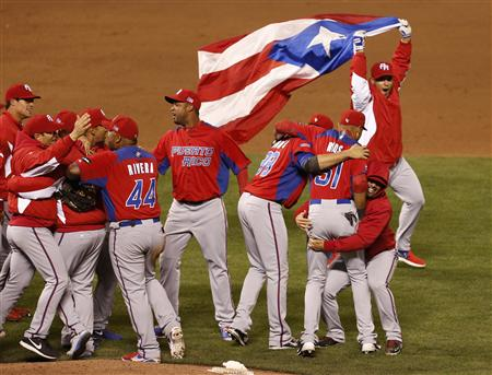 Pride was on display for Team Puerto Rico after its upset of Japan in the WBC semifinals on Sunday. (Reuters)