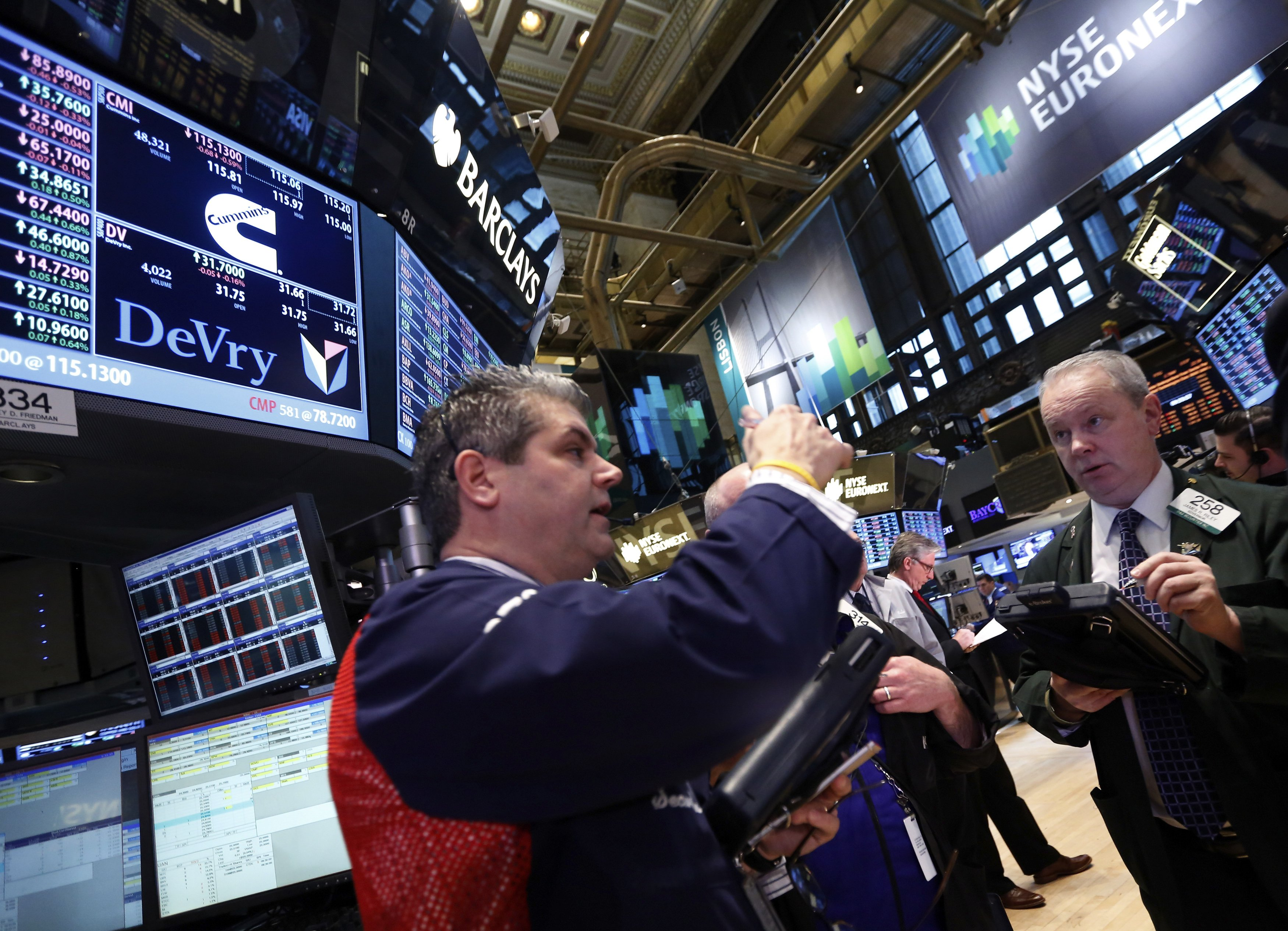 Traders work on the floor at the New York Stock Exchange, April 1, 2013. REUTERS/Brendan McDermid