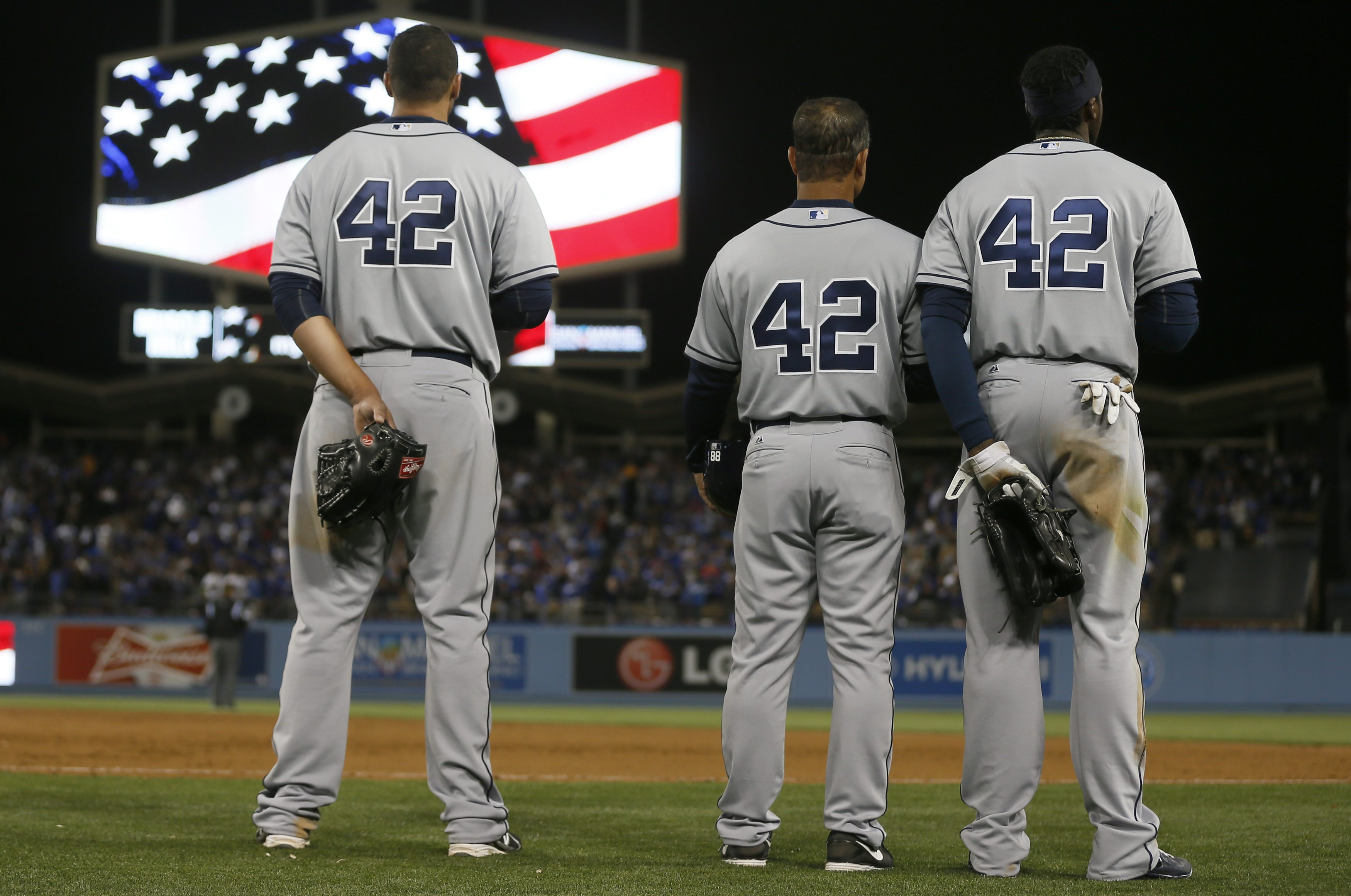 The Padres and Dodgers capped a Monday of baseball festivities honoring Jackie Robinson. (Reuters)