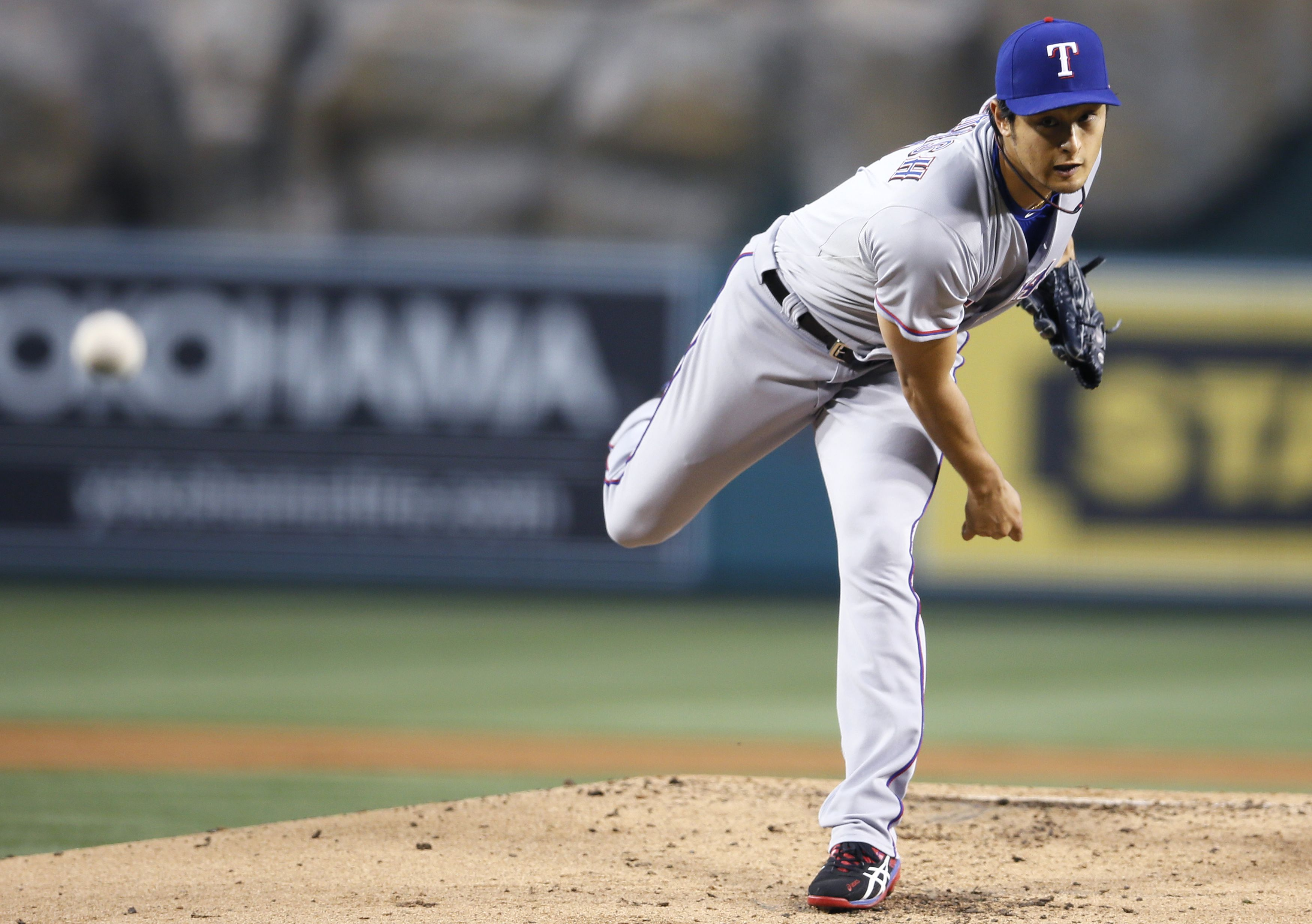 Through five starts this season, Yu Darvish has struck out a major-league best 49 batters. (Reuters)