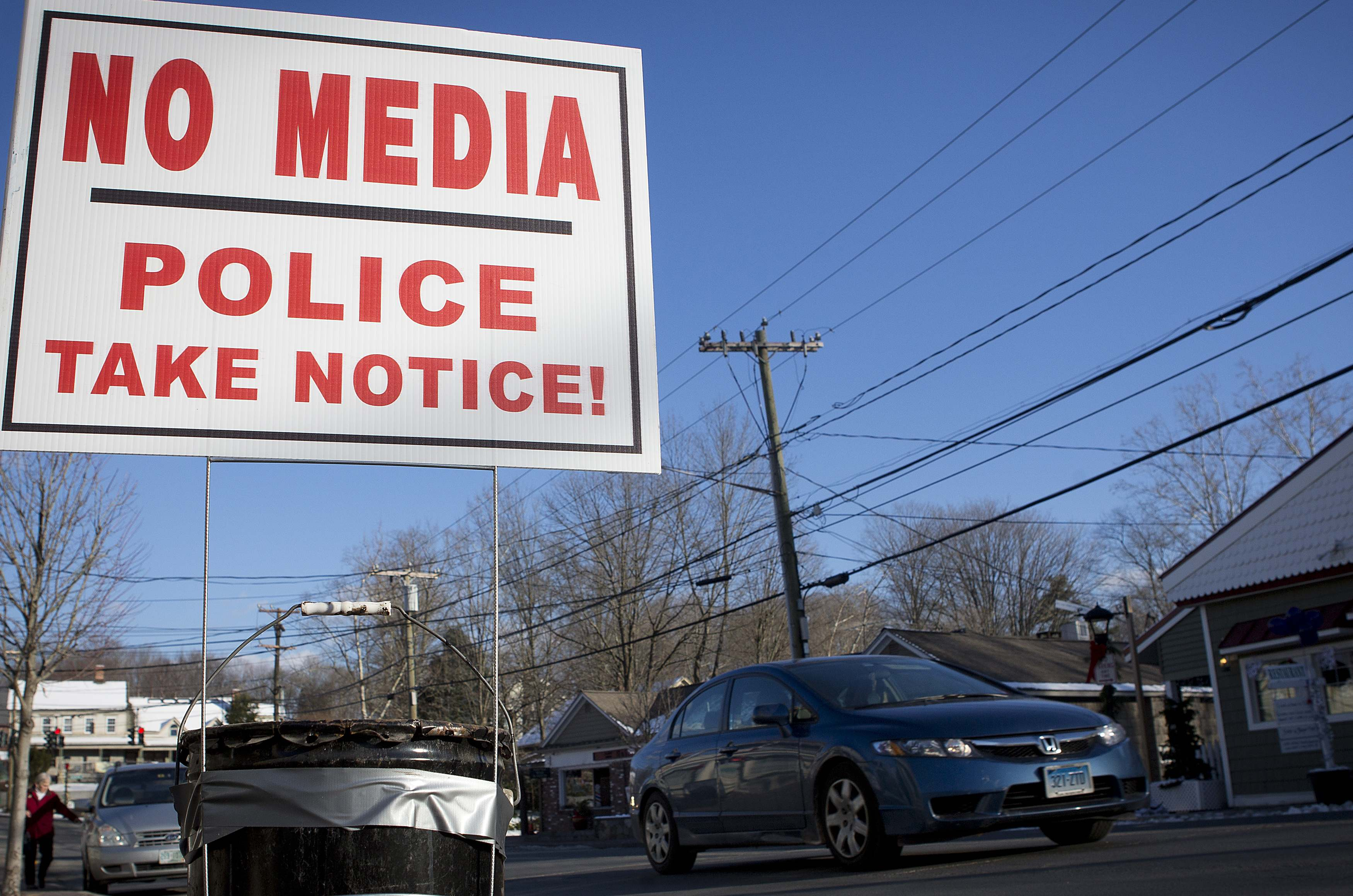 A sign is pictured in the Sandy Hook area of Newtown, Connecticut