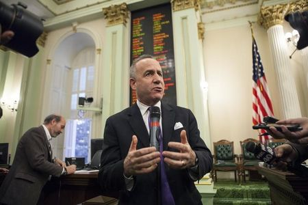 California Senate President Pro Tempore Steinberg speaks to reporters after Governor Brown delivered his State of the State address at the Capitol in Sacramento