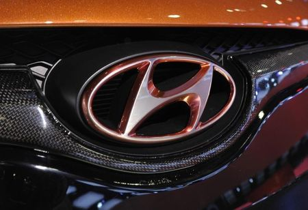 Detail view of the Hyundai logo on their Veloster model shown during the final press preview day for the North American International Auto Show in Detroit