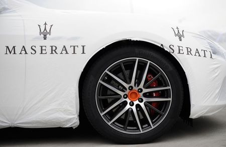 File photo of Maserati logo on covered vehicle in  …