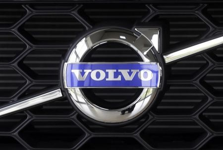 The Volvo logo is pictured on a car in a car dealership showroom in Riga