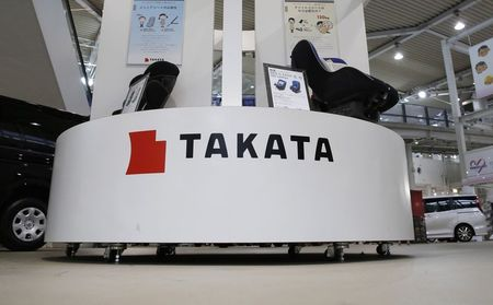 File photo of displays of Takata Corp at a showroom for vehicles in Tokyo