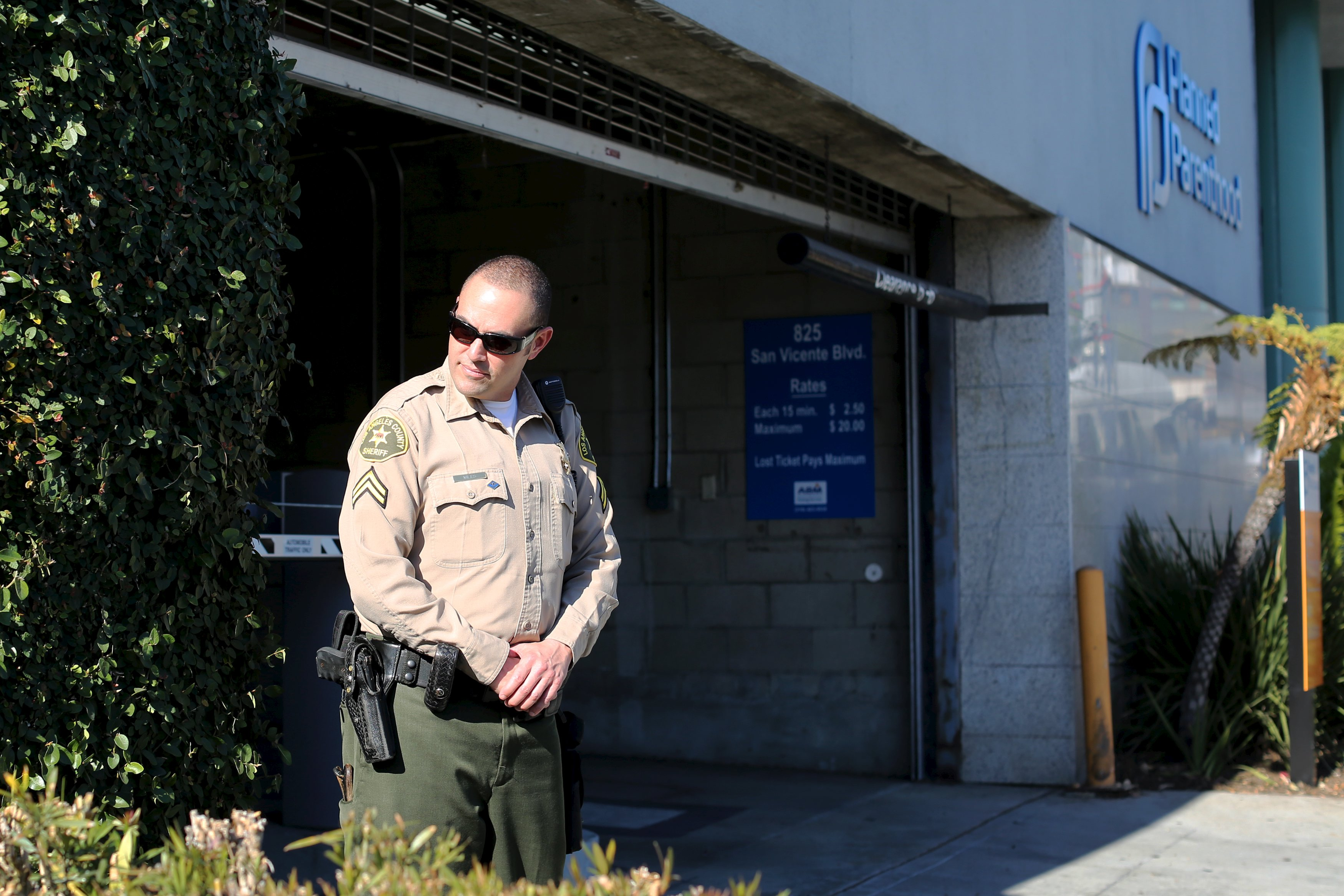 A Sheriffs deputy stands watch outside the opening of a new Planned Parenthood clinic in West Hollywood, California.