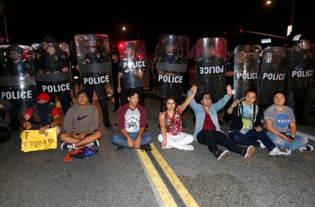 About 20 demonstrators arrested outside of Trump rally in California