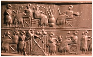 Sumerian beer drinking