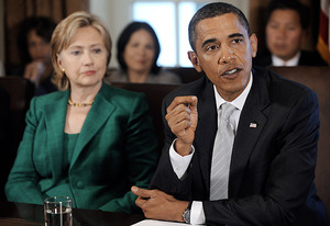 Hillary Clinton, Barack Obama | Photo Credits: Olivier Douliery-Pool/Getty Images