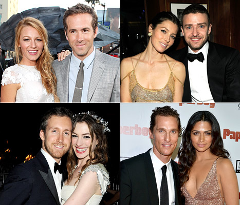 Blake Lively and Ryan Reynolds; Justin Timberlake and Jessica Biel; Matthew McConaughey and Camila Alves; Anne Hathaway and Adam Shulman