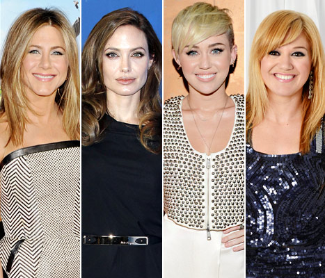 Jennifer Aniston, Angelina Jolie, Miley Cyrus, and Kelly Clarkson