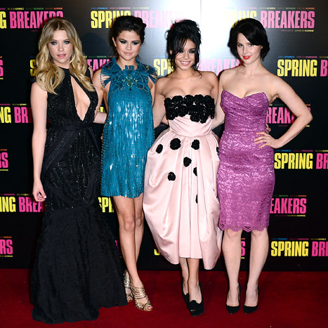 Ashley Benson, Selena Gomez, Vanessa Hudgens and Rachel Korine attend 'Spring Breakers' Paris Premiere at Le Grand Rex on February 18, 2013 in Paris, France