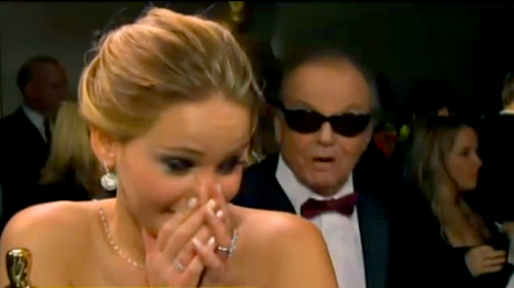 Jennifer Lawrence Gets Hit On By Jack Nicholson at Oscars