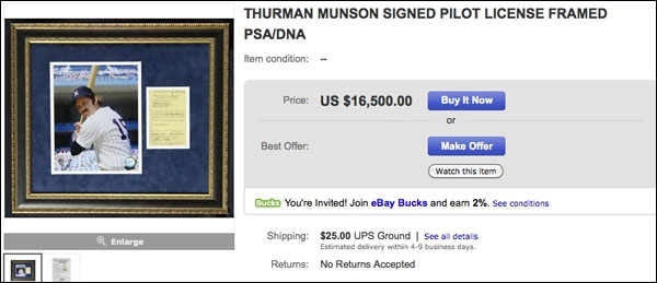 Thurman Munson's pilot license can be yours for $16,500
