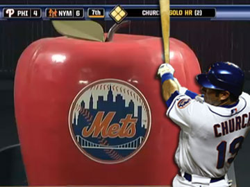 Ryan Church first to core Home Run Apple at Citi Field