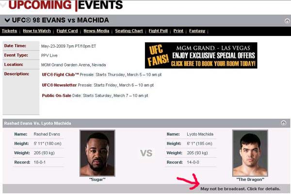 UFC has an oops: Machida/Evans not on main card?
